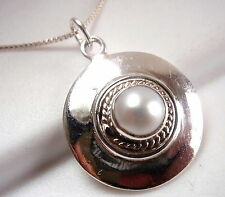 Pearl Round Necklace 925 Sterling Silver with Rope Style Accents New