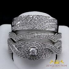 His Her Mens Woman Diamonds Wedding Ring Bands Trio Bridal Set 10k White Gold