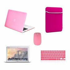 """5 IN 1 Macbook Air 13"""" Rubberized Pink Case + Keyboard Skin + LCD + Bag + Mouse"""