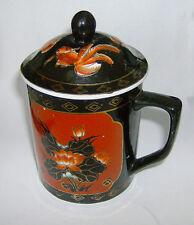 Taza con Tapa chino negro B/G 135mm en altura Peces & Diseño Floral. rarish artículo