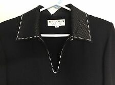 ST JOHN EVENING size 6 Marie Gray knit dress LBD classic POSH CHIC couture NWOT