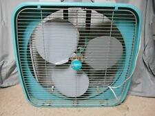 "Vintage Dominion 23"" turquoise 2 speed reversible air flow metal box fan"