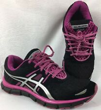 Women's Asics Gel-Blur33 running shoes. Black/silver/magenta. Size US 9