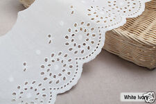 "3y Embroidery scalloped cotton eyelet lace White-Ivory 5.7"" 14cm sh14 laceking"