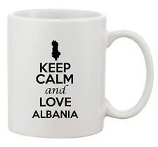Keep Calm And Love Albania Tirana Country Map Patriotic Ceramic White Coffee Mug