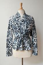 New PERRI CUTTEN Black White Animal Leopard Print Front Tie Linda Shirt 14 $249