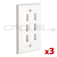 3x Wall Plate 6 Hole Port Jack Keystone Audio Wallplate White Lot Pack