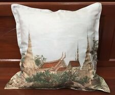 JIM THOMPSON 100%THAI SILK TEMPLE PRINTED ON PASTEL BLUE SQUARE PILLOW COVER 18""