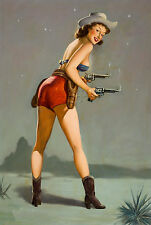 COWGIRL PIN-UP CALENDAR GIRL GUNS HOLSTER WESTERN VINTAGE CANVAS ART PRINT