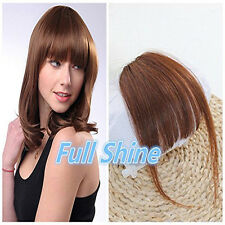 Real Natural Hair Extension Clip In Front Hair Bangs Fringe human Hair Brown NEW