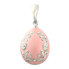 Faberge Egg Pendant / Charm with crystals 2.2 cm pink #0811-04