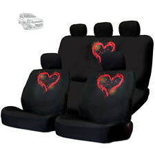 NEW RED HEART DESIGN FRONT AND REAR CAR SEAT COVERS SET FOR CHEVROLET