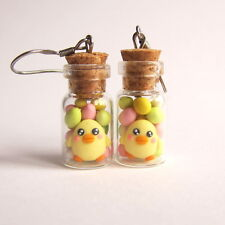 Easter Chocolate Colorful Eggs Food Yellow Chick in Candy Jar Earrings Jewelry