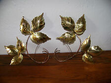 Pair of Brass/Copper Handcrafted Leaf Design Wall Decor Two Leaves on Each One