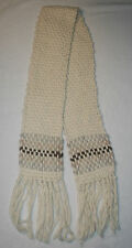 Women's Abercrombie Ivory Brown Gray Chunky Woven Wool Scarf Fringe