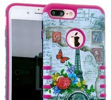 For iPhone 7+ Plus - HYBRID HARD&SOFT RUBBER SKIN CASE PARIS EIFFEL TOWER FLOWER