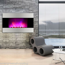 7-Color Adjustable 1500W Wall Mounted Electric Fireplace Heater Remote Control