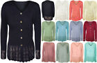 New Plus Womens Knitted Button Cardigan Ladies Long Sleeve Crochet Top 14 - 24