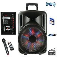 12 INCH RECHARGEABLE BATTERY PORTABLE PA SYSTEM WIRELESS MIC MICROPHONE USB SD