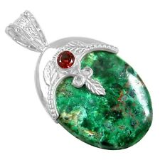 12.49 Gram 925 Sterling Silver Natural Chrysocolla Red Garnet Pendant Jewelry $
