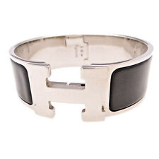 Authentic HERMES Enamel Clic Clac H Bracelet Wide Black Silver PM Noir Bangle
