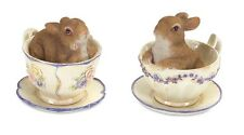 Bunny in Tea Cups Set of Two Easter or Spring Rabbits Decor