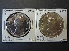 BERMUDA 1959 SILVER 1 CROWN + CANADA 1964 1 DOLLAR, 2 COINS, BOTH CHOICE UNC ++!