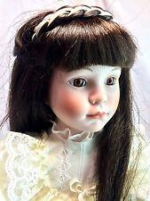 "Dynasty Collection Vintage Long Black Hair Eva Girl 16"" Porcelain Bisque Doll"