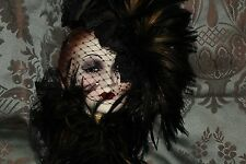 WESTERN MASQUERAD MASK ART NO.134/1000 HAND MADE Woman with Black Feathered Hat