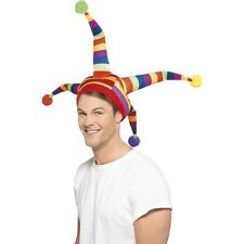 Men's Unisex Jester Hat Fancy Dress Rainbow Coco The Clown Carnival Fun Stag Hen