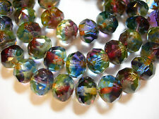 25 8x6mm STUNNING! Blue Purple Yellow blend Picasso Czech Rondelle Glass beads