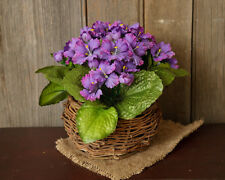 New TWIG BASKET W/ PURPLE AFRICAN VIOLETS Flower Primitive French Country Spring