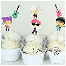 12 x Rock Band CUPCAKE CAKE TOPPERS Party Pick Food Guitar Music