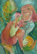 Robert Lohman 'The Kiss' Abstract Oil figurative painting 1970s Indiana Art