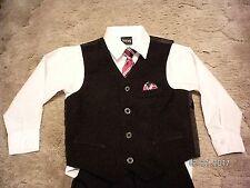 TFW Boy 4 Piece Vest, Shirt, Tie & Pants Black, White & Red Size 5 EUC!!