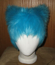 CHESHIRE KITTY CAT BLUE FUR EARS HAT ANIME COSPLAY CYBER RAVE HALLOWEEN COSTUME