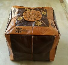 SQUARE HANDMADE MOROCCAN POUF LEATHER  POUFFE  OTTOMAN FOOTSTOOL HASSOCK.