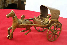 1948's OLD BRASS CASTED VICTORIAN HORSE CART CHARIOT FIGURE TOY, RICH PATINA