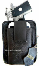 DARK BROWN LEATHER CCW CONCEALMENT GUN PISTOL HOLSTER PACK - S&W BODYGUARD 380