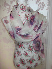 PRETTY CREAM FLORAL PRINT LADIES FASHION SCARF WRAP SHAWL PASHMINA NEW