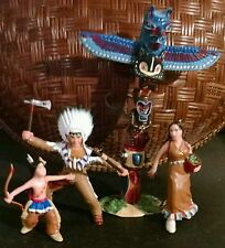 Papo Wild West Indian Figures Village 4pc lot Chief Mother Squaw Boy Totem Pole
