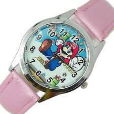 SUPER MARIO BROS VIDEO GAME PLUMBER HERO PINK LEATHER VIDEO GAME STEEL WATCH