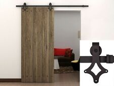 6FT Dark Coffee Country Antique Barn Wood Sliding Door Hardware Track Closet Set