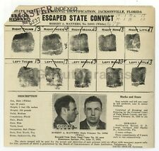 Wanted Notice - Robert A. Manners/Escaped Convict - Jacksonville, Florida - 1933