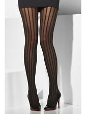 Onorevoli Collant velato con righe verticali FANCY DRESS Collant Nero Da Smiffys