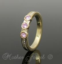 YELLOW GOLD GP LADIES GIRLS PINK CRYSTAL ETERNITY STACKABLE STACKER RING SIZE 6