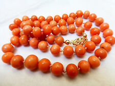 VINTAGE ART DECO 14K GOLD SALMON CORAL 7-10mm BEADS NECKLACE,  40g