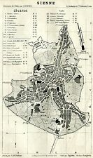 Pianta di Siena. Carta Topografica,Geografica. Stampa Antica + Passepartout.1886