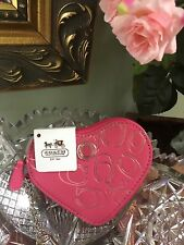 NEW Coach Jewel Heart Pink Leather Coin Purse #44813 Key Chain W8