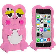 For Apple iPhone 5C Cute Frog Case Silicone Rubber Skin Soft Cover Light Pi